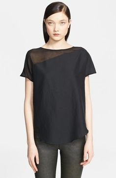Helmut Lang Washed Cotton & Silk Top available at #Nordstrom. Cool detail. Helmut Lang is a design god.