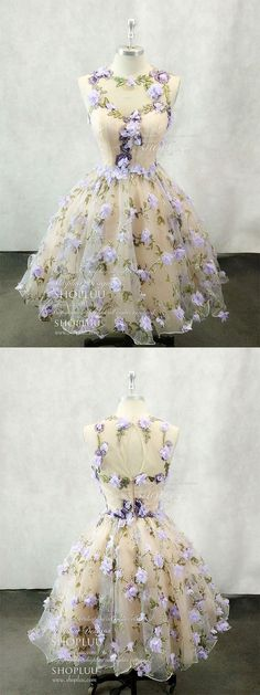 Cute round neck tulle 3d applique short prom dress, homecoming dress