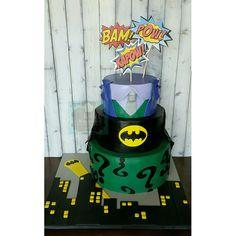 Batman Joker Riddler birthday fondant  cake Keri's Kreations