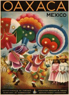 Oaxaca Mexico travel poster, 1930s