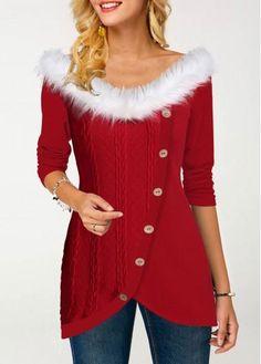 Inclined Button Fur Collar Tulip Hem T Shirt - Women's Fashion Trends Trendy Tops For Women, Stylish Tops, Diy Mode, White Maxi Dresses, Trendy Dresses, Fur Collars, Fur Trim, Casual Outfits, Womens Fashion