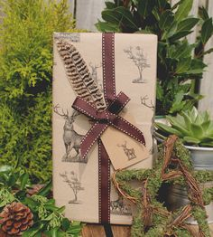 Vintage style stag kraft wrapping paper