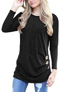 Buy Women 2017 Casual Long Sleeve Buttons Decor Crew Neck Tunic Shirts  Loose Blouse Tops at Wish - Shopping Made Fun