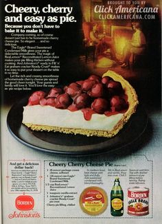 Cheery cherry cheese pie recipe. This is the exact recipe mom made when we were little. Still my favorite.