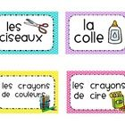 This is a set of environmental print labels. Great for primary French Immersion and Core French classes. It is of great benefit to have items in yo. Learning French For Kids, Teaching French, Primary Teaching, Teaching Ideas, Environmental Print, Education And Literacy, Core French, French Classroom, French School