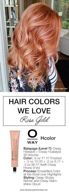 This copper rose gold hair color formula is the perfect spring or summer hair color for blondes!  Of course, done with #Oway #Hcolor and #Bleach by Heather Leigh Ford of Ananda Organic Salon.
