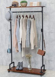 Amazon.com: BIXIRAO Industrial Pipe Clothing Rack on Wheels, Rolling Iron Garment Racks with Wood Shelves, Commercial Heavy Duty Clothing Racks, Steampunk Clothes Rack Retail (Two Tiers Garment Rack): Home & Kitchen