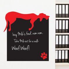 Blackboard Lazy Dog Wall Sticker