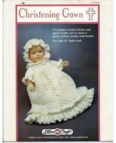 Christening Gown Doll Clothes Crochet Pattern Fibre Craft FCM288