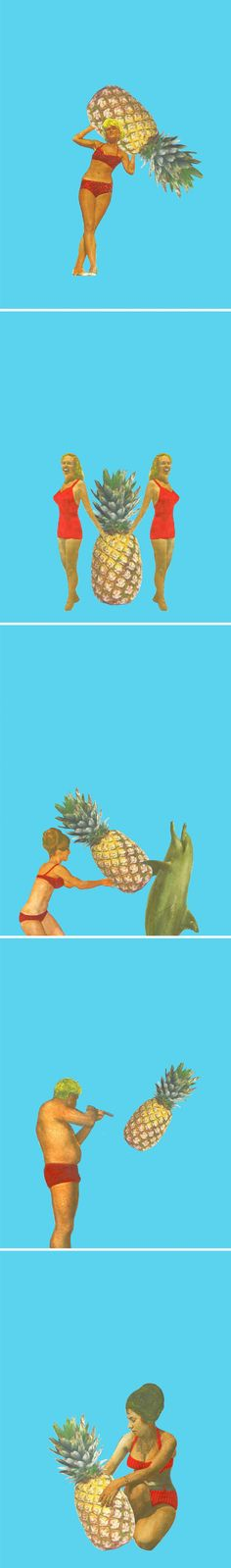 Do you love spray tans, red swimsuits, and giant pineapples? Well then have I got an artist for you! These mixed media collages are the work of Australian artist Maz Dixon. I wrote about her paintings