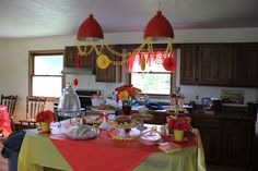 Red and Yellow baby shower buffet spread  #red #yellow #babyshower #decor #buffet