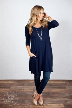 This is the PERFECT tunic to transition you into spring! The long length is perfect with leggings, jeans... it looks great with anything! So cute now, paired with your favorite cardigan or jacket, and will be perfect in the spring and summer on it's own! The lightweight fabric is so soft and comfy, it's sure to be your favorite new tunic! We love the loose flowy fit that keep this right on trend for the season, and the pocket that sets it apart from your basic tunic. The perfect all occa