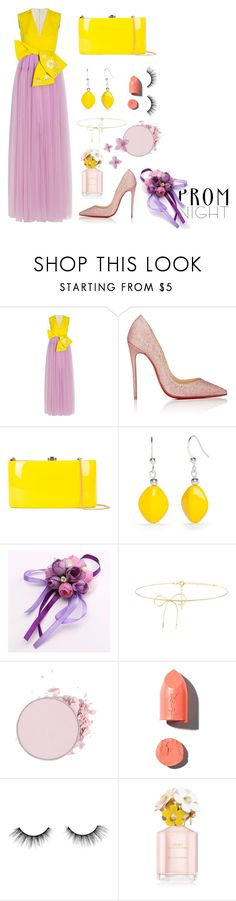 """#66"" by gpramasita ❤ liked on Polyvore featuring Delpozo, Christian Louboutin, Rocio, Kim Rogers, Lilou, PUR, tarte, Marc Jacobs and PROMNIGHT"