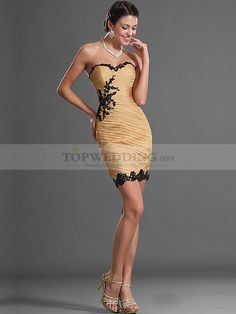 Beaded Applique Pleated Strapless Sheath Short Party Dress