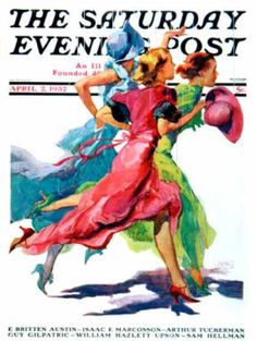 Saturday Evening Post - 1932-04-02: Three Women Running from Rain (John LaGatta)