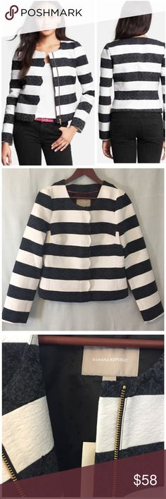 """Banana Republic Striped Scalloped Parisian Jacket NWT BANANA REPUBLIC Striped Scalloped Parisian Jacket  Blazer • size 10 • just when you thought a black and white striped jacket could not get any classier, Banana republic adds a scalloped trim and damask  pattern to their Parisian Jacket • collarless • Bracelet length sleeves 19"""" • 92% cotton 8% nylon • Fully lined • Zipper closure • 14.5"""" shoulders  • 19"""" bust (flat) • 22"""" length • $130 retail Banana Republic Jackets & Coats"""