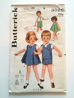 Vintage Sewing Pattern 1960s Toddler Boy & by RetroVintageButtons