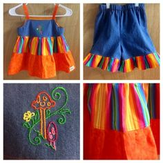 Summer Rainbow Top and Ruffle Shorts, girls size 5 by SewMeems on Etsy