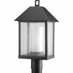 Progress Lighting's Domino one-light medium post lantern in a Textured Black finish.