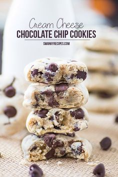 The ultimate Soft-batch bakery style chocolate chip cookies made with cream cheese and semi-sweet chocolate chips.