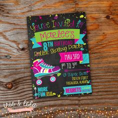 Roller Skate Birthday Digital Invitation
