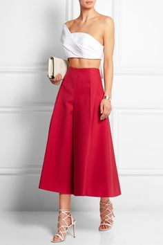 @roressclothes closet ideas #women fashion outfit #clothing style apparel Red Culottes