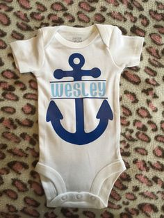 Love this nautical baby onesie! Adorable anchor onesie for baby boy! Ahoy baby Wesley is on his way! https://www.etsy.com/listing/279755926/nautical-personalized-onesie-anchors