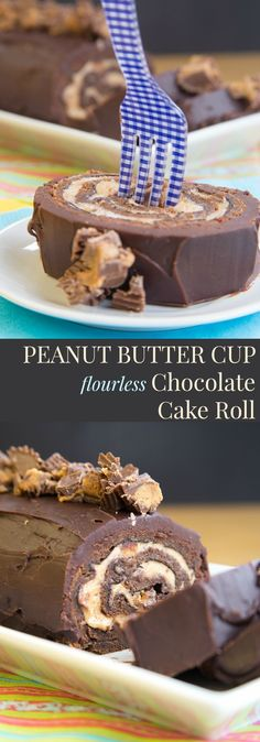 This looks YUM! Peanut Butter Cup Flourless Chocolate Cake Roll - fill a tender sponge cake with peanut butter mousse studded with peanut butter cups and drench it in chocolate ganache for a decadent dessert recipe (gluten free too)! Chocolate Roll Cake, Flourless Chocolate Cakes, Chocolate Desserts, Chocolate Ganache, Chocolate Smoothies, Chocolate Shakeology, Chocolate Roulade, Chocolate Crinkles, Chocolate Pudding