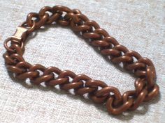 Chunky Vintage Solid Copper Oval Link Bracelet by TheCopperCat, $13.00