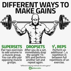 When training to build muscle and make gains, there are different methods you can implement to up the intensity of your training and really bring your training to the next level and make some. Fitness Motivation, Fitness Tips, Health Fitness, Fitness Facts, Men Health, Gym Fitness, Health Tips, Fitness Models, Weight Training Workouts