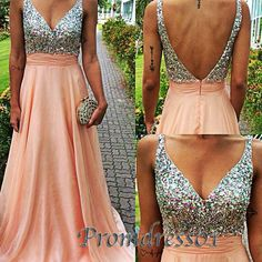 Elegant open back blush pink chiffon prom dresses with sequins rhinestone top, long prom dress for teens #coniefox
