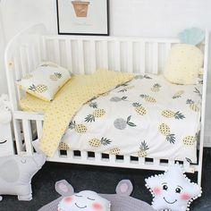 3 pcs bebe ensemble de literie linge de lit pour enfants pur coton crib cot kit inclure housse de couette taie d oreiller plat feuille pour filles garcons