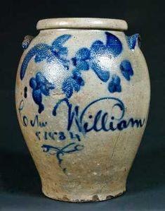 Stoneware Crocks, Antique Stoneware, Antique Pottery, Blue Pottery, Pottery Art, Antique Crocks, Old Crocks, Glazes For Pottery, Glazed Pottery
