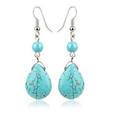Exquisite Howlite Water Drop Dangle Earrings Wholesale Jewelry Gift for Women online - NewChic Buy Earrings, Cheap Earrings, Pendant Earrings, Stone Earrings, Girls Earrings, Turquoise Pendant, Turquoise Earrings, Discount Jewelry, Vintage Turquoise