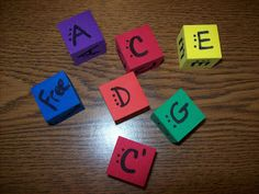 Colored foam dice that match Boomwhackers in C pentatonic.  Activity included!