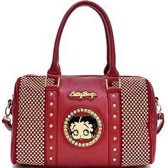 8368aebcb top handle bags: Betty Boop Rhinestone Studded Barrel Satchel Shoulder Bag  Handbag Purse with Removable