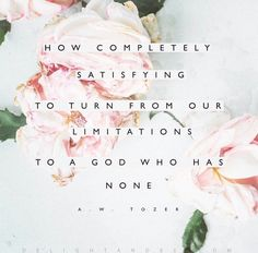 """Tozer quote """"How completely satisfying to turn from out limitations to a God who has none. Cool Words, Wise Words, Encouragement, In Christ Alone, How He Loves Us, Bible Verses Quotes, Scriptures, Gospel Quotes, Tea Quotes"""