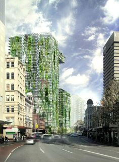 One Central Park, a residential tower in Sydney by Jean Nouvel, has plants and vines climbing up its glass facade.