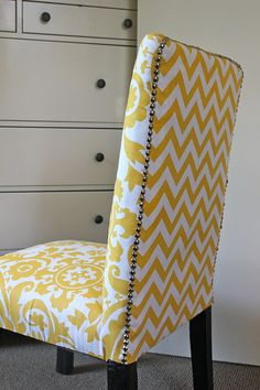 DR or kitchen idea - reupholstered parsons chairs