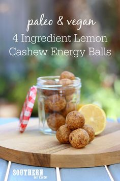 4 Ingredients are all you'll need to make these delicious Lemon Cashew Energy Balls. Gluten free paleo vegan sugar free and so good! Lunch Box Recipes, Gf Recipes, Gluten Free Recipes, Sweet Recipes, Healthy Recipes, Vegan Sugar, Paleo Vegan, Raw Vegan, Paleo Life