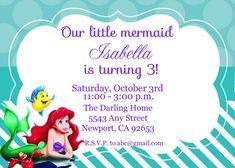 The Little Mermaid Invitation Ariel Disney by StarPartyPrintables