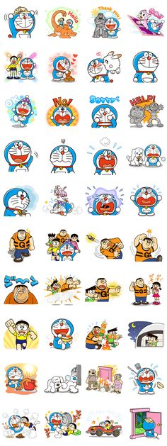 This sticker set features carefully selected frames from 5 different Doraemon films. Let Nobita and the gang spice up your chats with their big screen antics! Emoji Stickers, Cartoon Stickers, Funny Stickers, Doraemon Cartoon, Doraemon Wallpapers, Cute Planner, Japanese Cartoon, Line Sticker, Planner Stickers