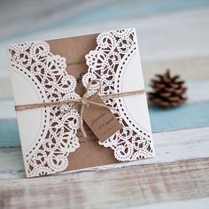 affordable rustic laser cut wedding cards with tags