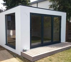 Every rendered garden room is accessible from the outside by french doors including sidelights and features a small side window. Garden Pods, Garden Bar, Garden Studio, Garden Office, Garden Ideas, Summer House Garden, Home And Garden, Outdoor Garden Rooms, Outdoor Decor