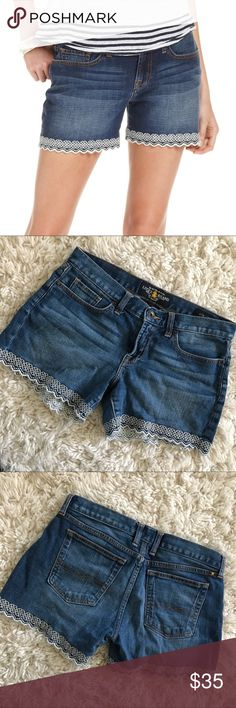Lucky Brand • Trimmed Abbey Denim Shorts Lucky Brand • Adorable denim shorts with white crotchet-like trim details. Bermuda length. Abbey Short style. Perfect condition!   🌸 No trades. 15% off when you buy at least 2 items from my closet. 🌸 Lucky Brand Shorts Jean Shorts