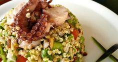 ταμπουλέ με χταπόδι καπνιστό - Pandespani.com Grains, Greek, Rice, Lent, Food, Lenten Season, Essen, Meals, Seeds