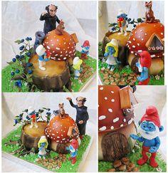 The Smurfs ~ Smurf Smurfette Mushroom Cake