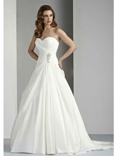 A-Linie Herzausschnitt Trägerlos Kapelle-schleppe Taft Hochzeitskleid