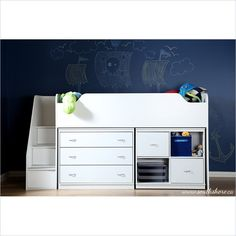 South Shore Mobby Twin Loft Bed with Chest and Storage in Pure White - 3880B3