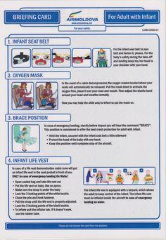 Safety Card Air Moldova Airbus A320 (2) Infant seat belt. oxygen mask. brace position. infant life vest.